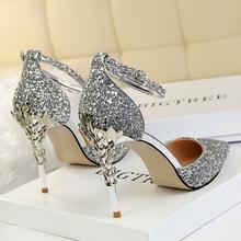 202ea春夏水晶公th色亮片高跟细跟婚鞋银色新娘尖头伴娘单鞋女
