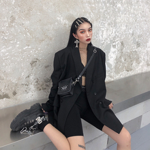 鬼姐姐ea色(小)西装女th新式中长式chic复古港风宽松西服外套潮