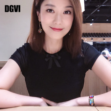 DGVea纯色短袖Tte021春夏新式时尚蕾丝网纱上衣洋气体恤(小)衫女