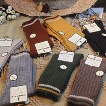 秋冬韩ea学院运动风mo厚保暖日系复古中筒袜(小)腿堆堆袜