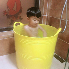加高儿ea手提洗澡桶mo宝浴盆泡澡桶家用可坐沐浴桶含出水孔