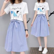 两件套eb裙子夏季2ba新式女潮学生韩款中长式连衣裙学院风(小)清新