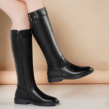 足意尔eb2020秋ak式真皮欧美圆头平底低跟骑士靴高筒靴女长靴
