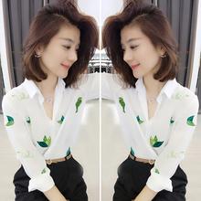欧洲站eb020春季kc货潮韩款洋气白色宽松上衣气质雪纺衬衫女装