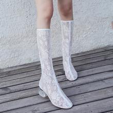 新式蕾ed萝莉女二次on季网纱透气高帮凉靴不过膝粗跟网靴