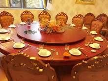 酒店大ee桌木转盘饭ka电动圆台10-20的宴会桌火锅桌
