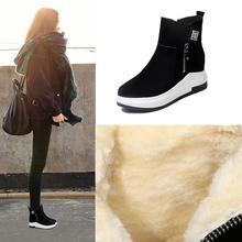 短靴女ee0冬202yu暖靴厚底百搭加绒内增高棉鞋冬季平底雪地靴
