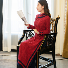 过年旗ef冬式 加厚bu袍改良款连衣裙红色长式修身民族风女装