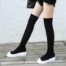 欧美休ef平底过膝长bu冬新式百搭厚底显瘦弹力靴一脚蹬羊�S靴