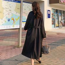 秋季外ef女2020bu搭中长式春装韩款宽松女士大衣过膝休闲风衣