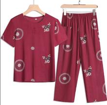 奶奶装eh装棉麻套装lt袖老的衣服夏季妈妈两件套中老年的女装