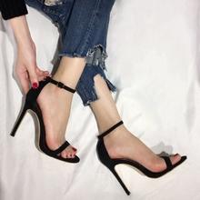 欧美2eh19夏季新lt露趾高跟鞋女细跟性感一字带扣显瘦