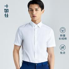 十如仕eh0疆长绒棉ng抗菌防皱短袖白衬衫男纯棉男士白衬衣