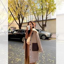 肉完RehUWANBch英伦风格纹毛领毛呢大衣中长式秋冬呢子外套