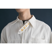 懒得伺ei日系工装风vo叉长袖白衬衫个性潮男女宽松印花衬衣春