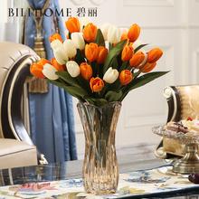 简约欧ek创意客厅玄ry玻璃瓶富贵竹百合干花装饰摆件水培花瓶