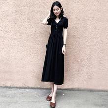 黑色赫ek长裙女20ry季法式复古过膝桔梗裙V领冰丝针织连衣裙子