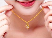 24kek黄吊坠女式es足金套链 盒子链水波纹链送礼珠宝首饰