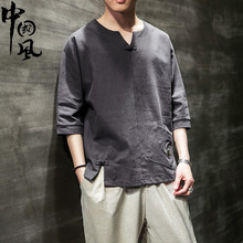 中国风ek麻料短袖Tes上衣日系古风男装亚麻复古盘扣中式半袖