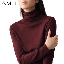 Amiel酒红色内搭ct衣2020年新式女装羊毛针织打底衫堆堆领秋冬