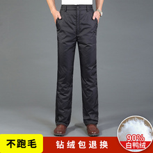羽绒裤男外穿加厚高腰中老年的青年el13外直筒lf暖休闲棉裤