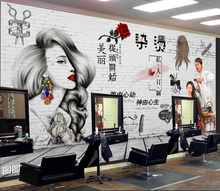 理发店elD墙纸复古ri性时尚发廊沙龙美发店装饰背景墙壁画
