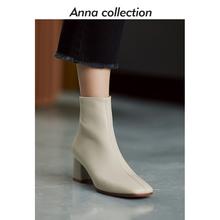 202el年秋冬新式an约方头羊皮舒适短靴粗跟真皮中跟马丁靴女靴