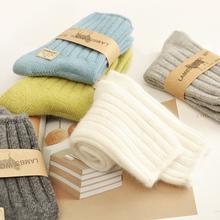 3双装em 冬季保暖nu女短袜纯色中筒加厚羊绒袜秋冬袜女