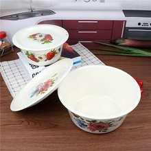 老式瓷em怀旧盖盆带li碗保鲜碗洗手盆拌馅盆和面盆猪油盆