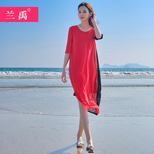 巴厘岛em滩裙女海边li西米亚长裙(小)个子旅游超仙连衣裙显瘦