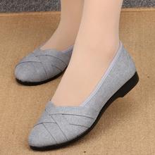 女士老em京布鞋单鞋fu底平跟透气软底黑色工作鞋上班鞋