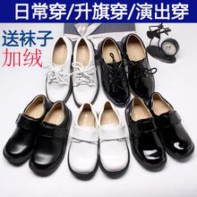 男童皮em加绒黑白色ks0英伦风宝宝礼服学生中大童表演出宝宝单鞋
