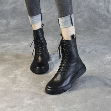 清轩2en20新式真rg靴女中筒靴平底欧美机车女靴短靴单靴潮皮靴