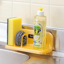 厨房置en架日本进口rg料浴室吸盘水槽沥水架百洁布海绵架托架