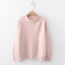日系森en秋冬韩款甜rg新学生纯色花边领毛衣外套女长袖针织衫