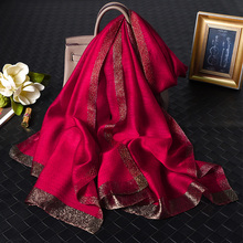 [enhei]红色围巾丝巾女中年送礼中国真丝桑