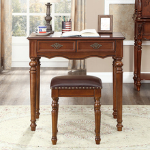 美式乡en书桌全实木eg欧式办公桌宝宝学习桌(小)户型卧室写字台