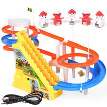 (小)汽车en楼梯大型带eg的轨道车玩具滑道车三岁(小)猪简单