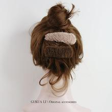韩国基en式彩色羊羔otBB夹毛毛边夹发卡秋冬发饰头饰