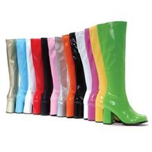 长靴2en20欧美冬ot色高跟粗跟时尚个性靓丽女士大码中筒靴白色