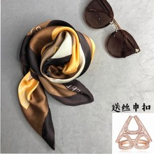 艾米家ep巾(小)方巾百ga女黄格送39元三环丝巾扣