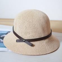 夏天帽eq女礼帽英伦ip女盆帽女夏休闲复古帽子欧美春秋(小)礼帽