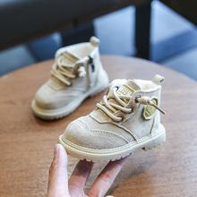 婴儿学er鞋软底0-an一岁2男女童加绒宝宝棉鞋马丁靴短靴秋冬季式