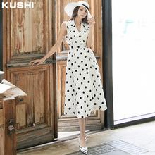 波点连er裙女夏季长ng无袖女士雪纺赫本风连体裙子2021年新式