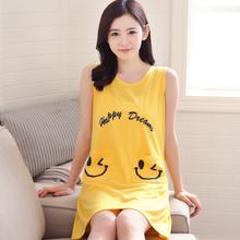 夏天连er裙显瘦格子ng裙(小)个子女式纯棉质无袖背心睡衣S(小)码