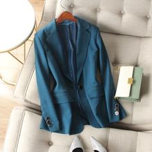 职场惊er气质孔雀蓝cd扣修身长袖含垫肩中长显瘦西装外套女春