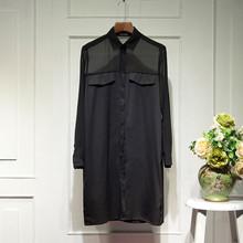 202er女装新式春va宽松大码中长式雪纺拼接长袖衬衫开衫薄风衣