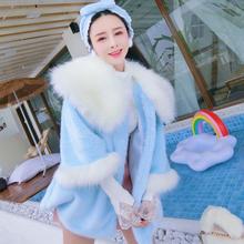 冬季新er年轻式大毛nm蓝色棉服外套女韩国洋气宽松仿皮草大衣