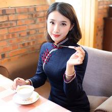 旗袍冬款加厚es3年旗袍(小)4g个子老款中款复古中国风女装冬装