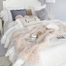 北欧iess风秋冬加ac办公室午睡毛毯沙发毯空调毯家居单的毯子